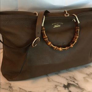 Gucci Bamboo Handle Shopper Brown Leather Tote
